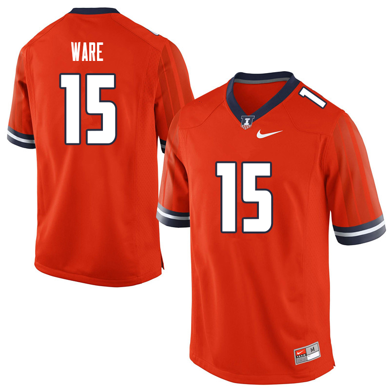 Men #15 Delano Ware Illinois Fighting Illini College Football Jerseys Sale-Orange