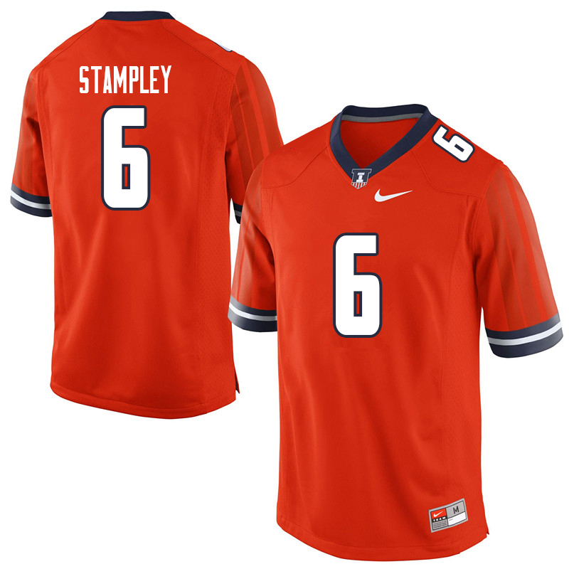 Men #6 Dominic Stampley Illinois Fighting Illini College Football Jerseys Sale-Orange
