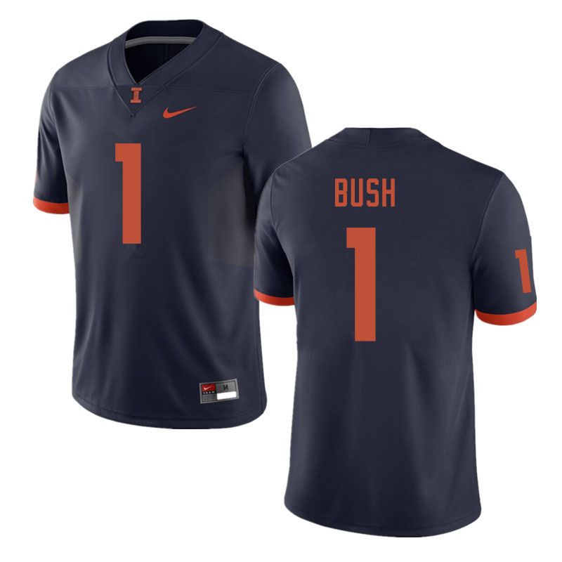 Men #1 AJ Bush Illinois Fighting Illini College Football Jerseys Sale-Navy