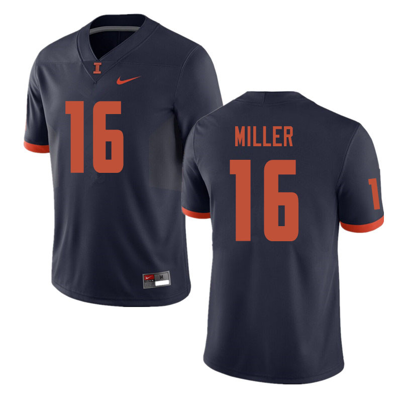 Men #16 Cam Miller Illinois Fighting Illini College Football Jerseys Sale-Navy