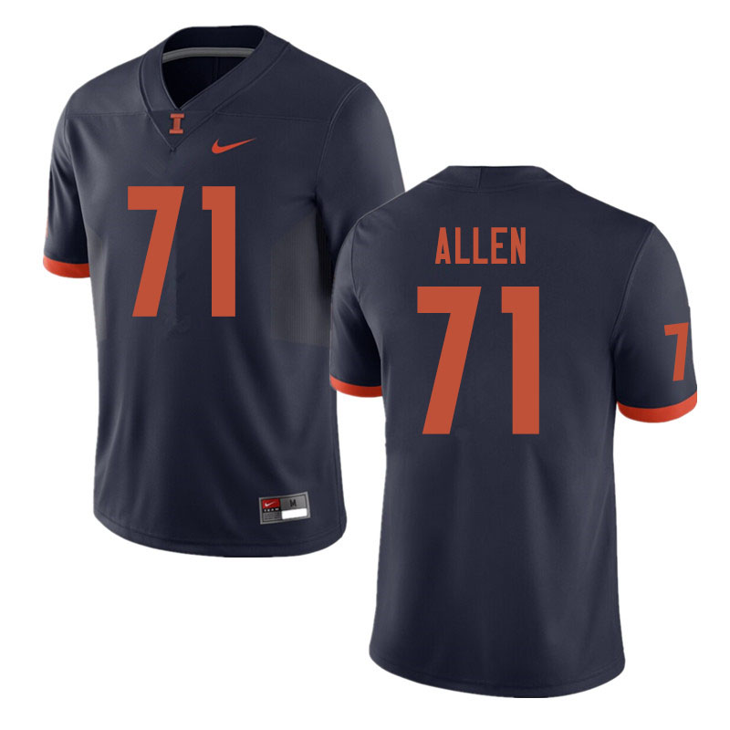 Men #71 Jeff Allen Illinois Fighting Illini College Football Jerseys Sale-Navy