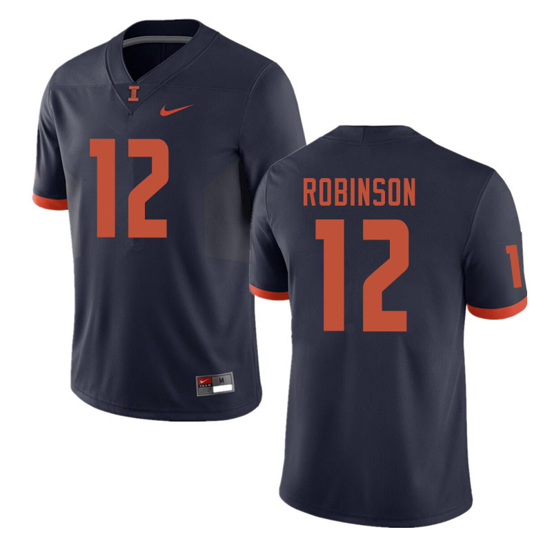 Men #12 Matt Robinson Illinois Fighting Illini College Football Jerseys Sale-Navy