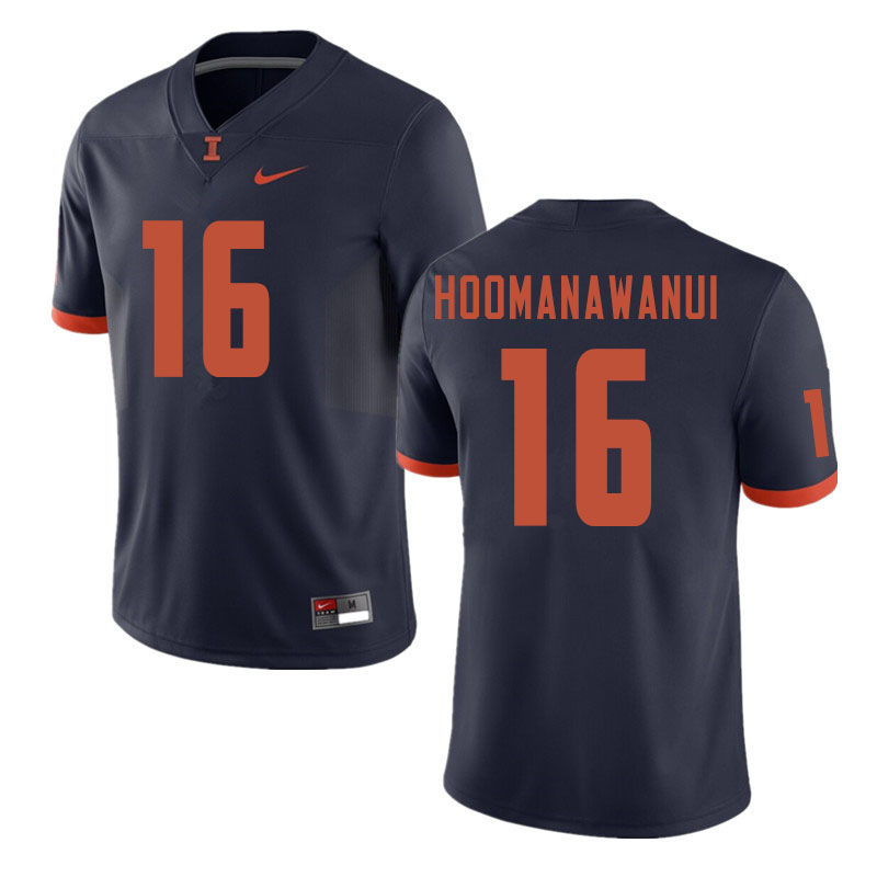 Men #16 Michael Hoomanawanui Illinois Fighting Illini College Football Jerseys Sale-Navy