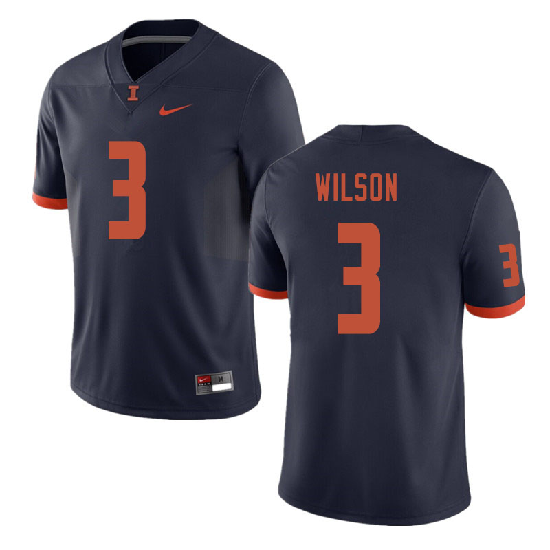 Men #3 Tavon Wilson Illinois Fighting Illini College Football Jerseys Sale-Navy