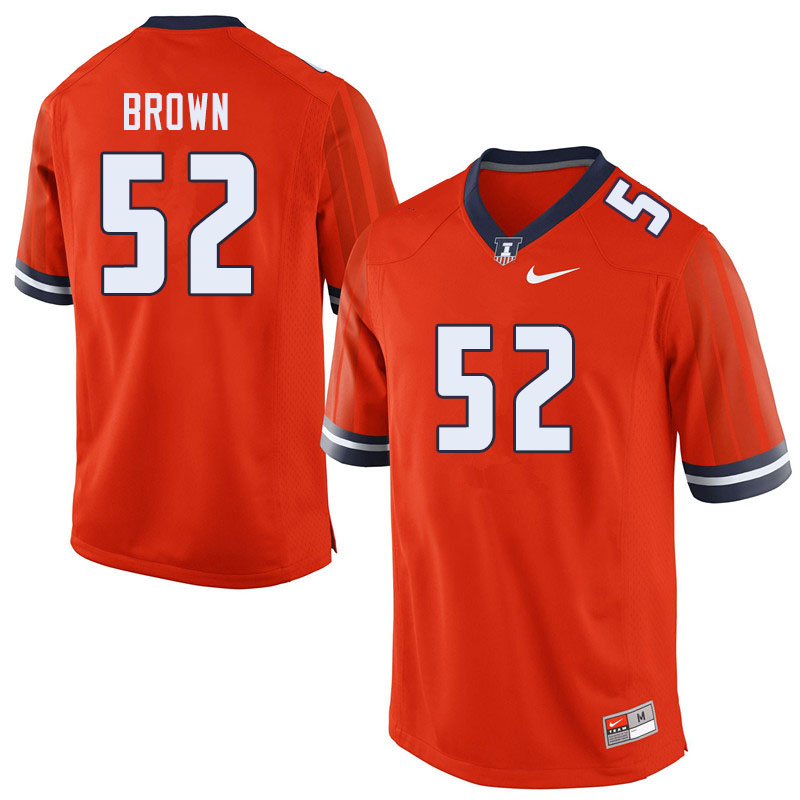 Men #52 Verdis Brown Illinois Fighting Illini College Football Jerseys Sale-Orange