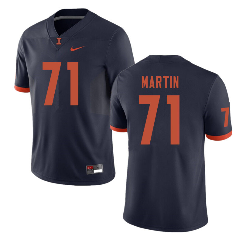 Men #71 Zeke Martin Illinois Fighting Illini College Football Jerseys Sale-Navy