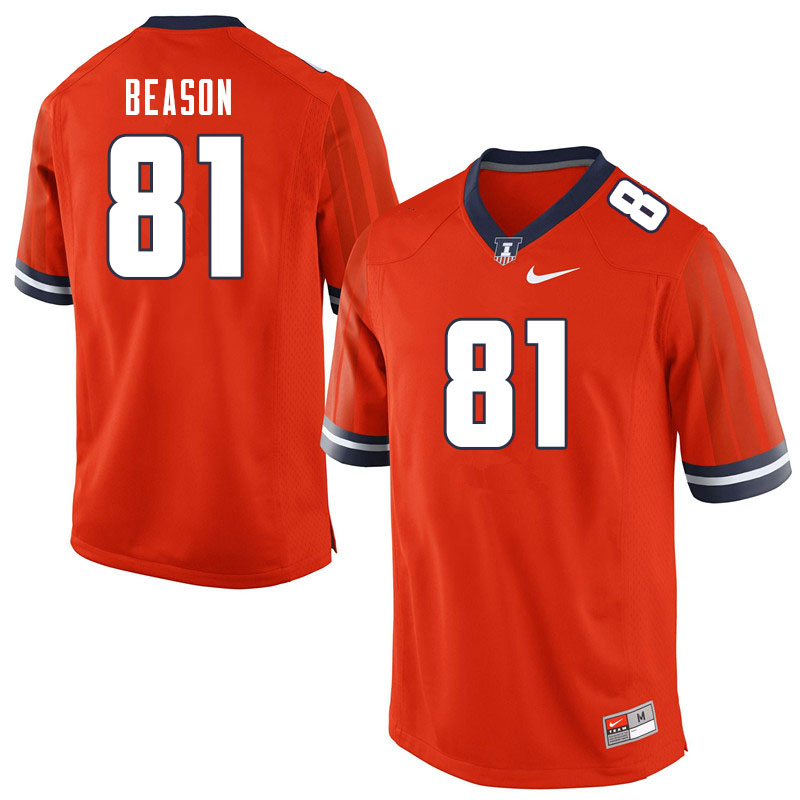 Men #81 Marquez Beason Illinois Fighting Illini College Football Jerseys Sale-Orange