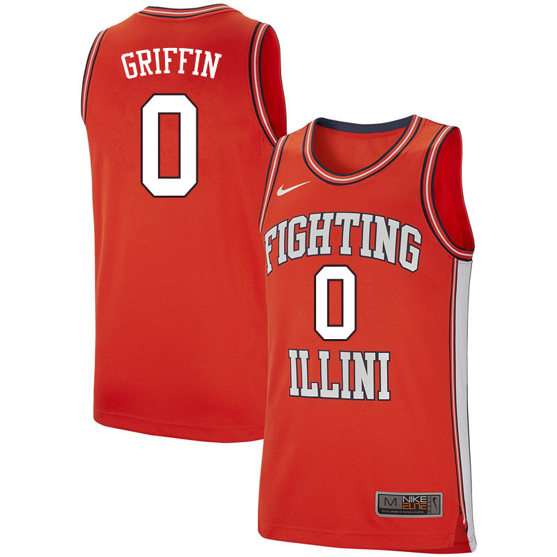Men #0 Alan Griffin Illinois Fighting Illini College Basketball Jerseys Sale-Retro