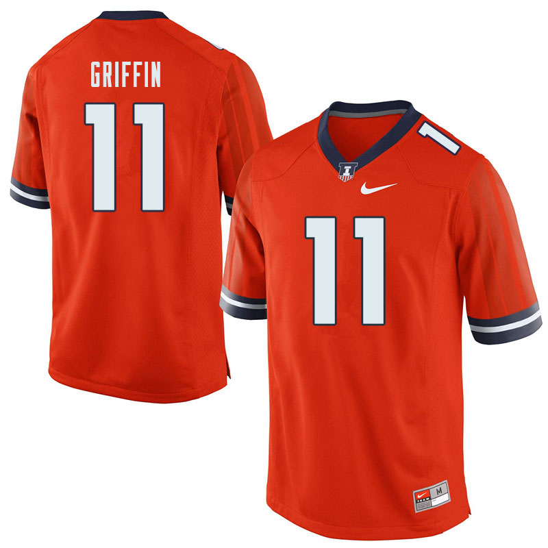 Men #11 Caleb Griffin Illinois Fighting Illini College Football Jerseys Sale-Orange