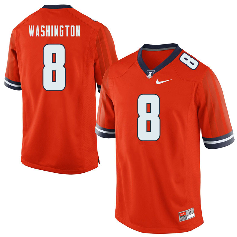 Men #8 Casey Washington Illinois Fighting Illini College Football Jerseys Sale-Orange