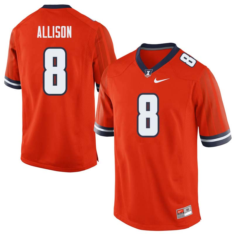 Men #8 Geronimo Allison Illinois Fighting Illini College Football Jerseys Sale-Orange