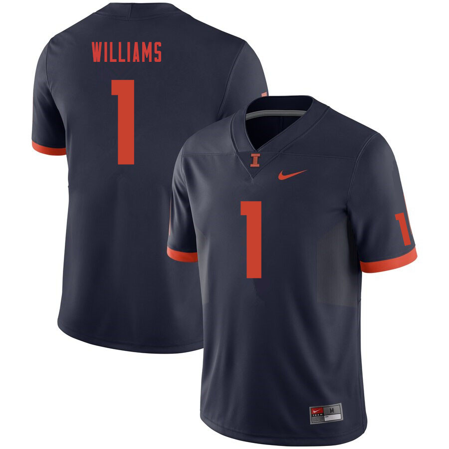 Men #1 Isaiah Williams Illinois Fighting Illini College Football Jerseys Sale-Navy