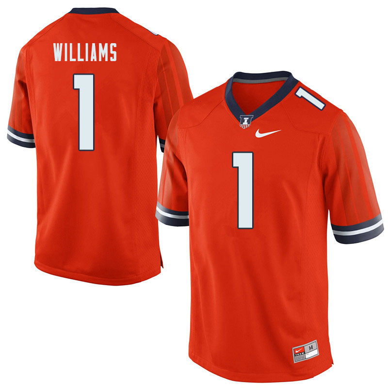 Men #1 Isaiah Williams Illinois Fighting Illini College Football Jerseys Sale-Orange