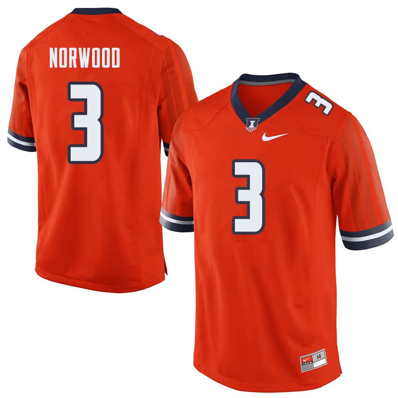 Men #3 Jakari Norwood Illinois Fighting Illini College Football Jerseys Sale-Orange