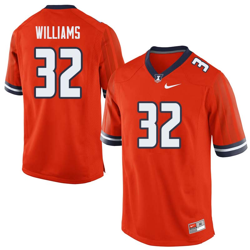 Men #32 Justice Williams Illinois Fighting Illini College Football Jerseys Sale-Orange