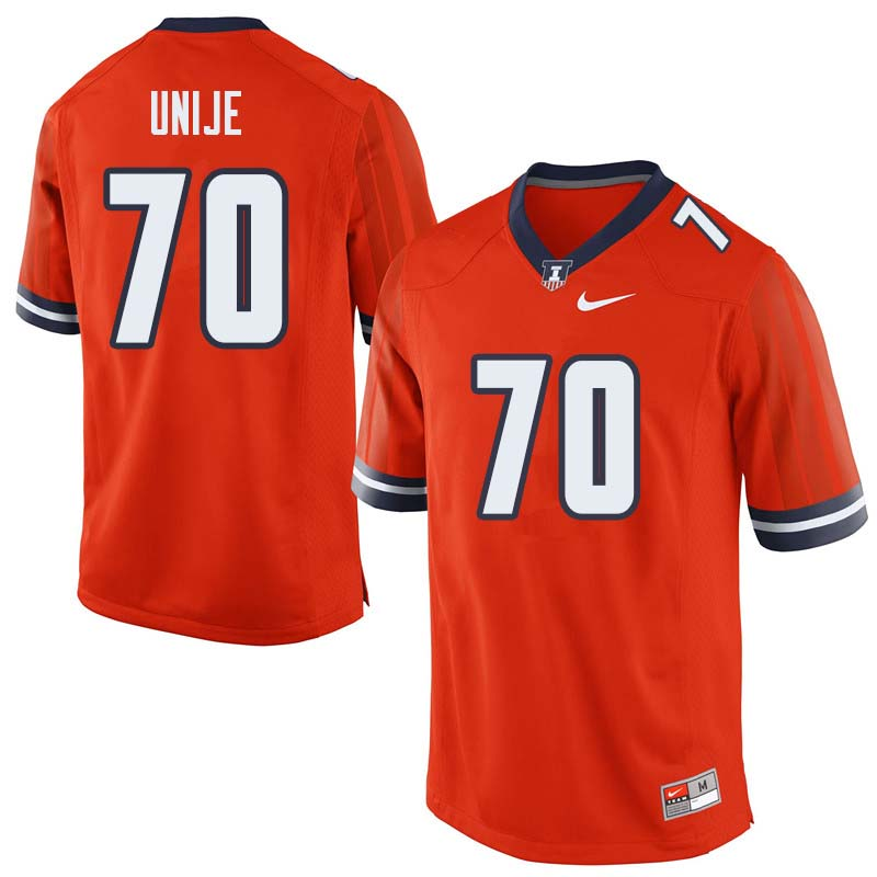 Men #70 Reuben Unije Illinois Fighting Illini College Football Jerseys Sale-Orange