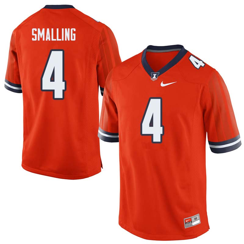 Men #4 Ricky Smalling Illinois Fighting Illini College Football Jerseys Sale-Orange