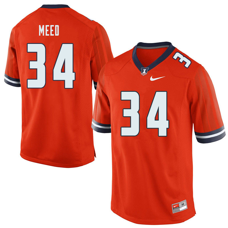 Men #34 Ryan Meed Illinois Fighting Illini College Football Jerseys Sale-Orange