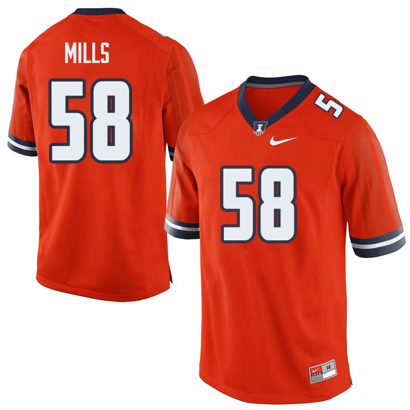 Men #58 Sean Mills Illinois Fighting Illini College Football Jerseys Sale-Orange