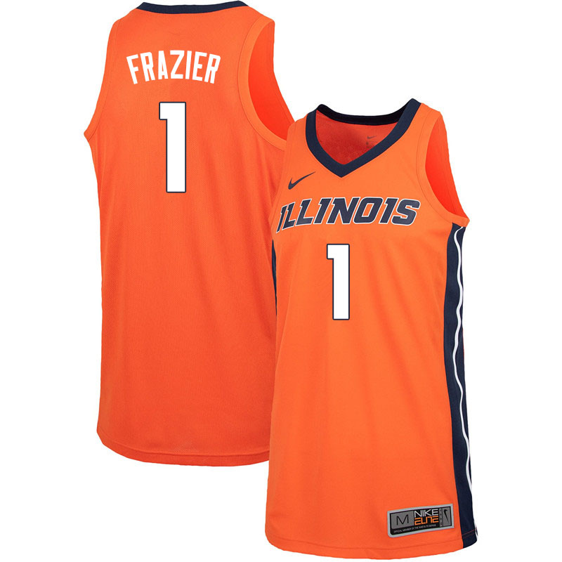 Men #1 Trent Frazier Illinois Fighting Illini College Basketball Jerseys Sale-Orange