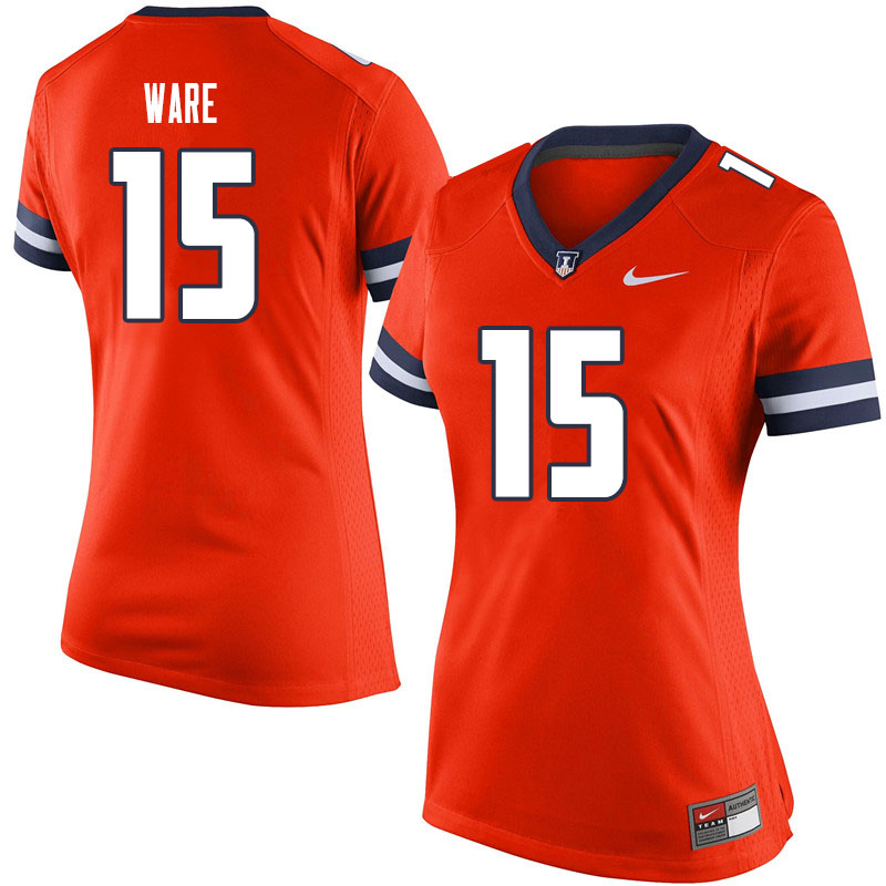 Women #15 Delano Ware Illinois Fighting Illini College Football Jerseys Sale-Orange