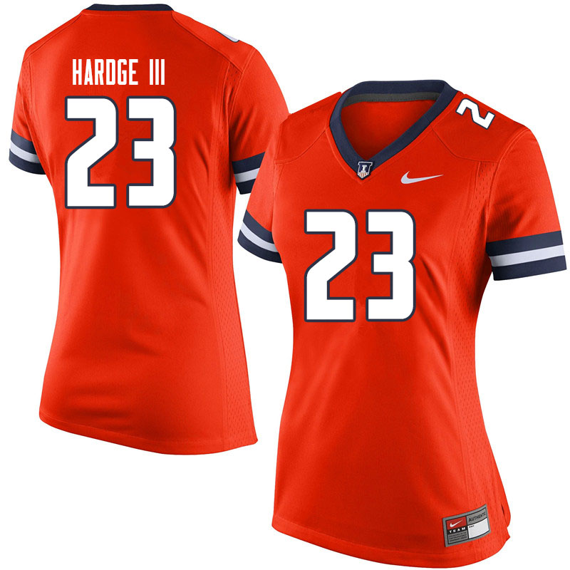 Women #23 Ron Hardge III Illinois Fighting Illini College Football Jerseys Sale-Orange