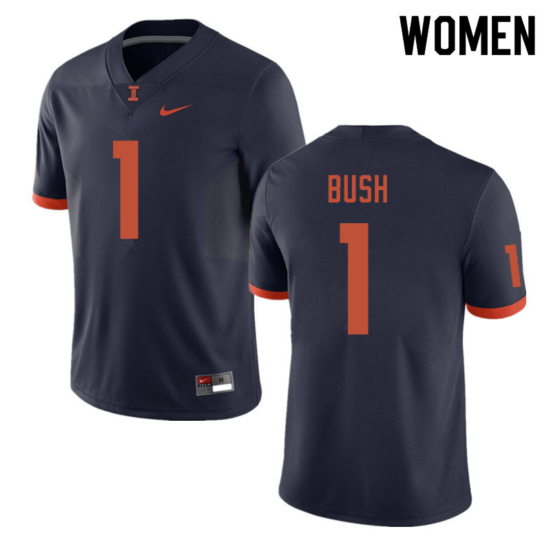 Women #1 AJ Bush Illinois Fighting Illini College Football Jerseys Sale-Navy