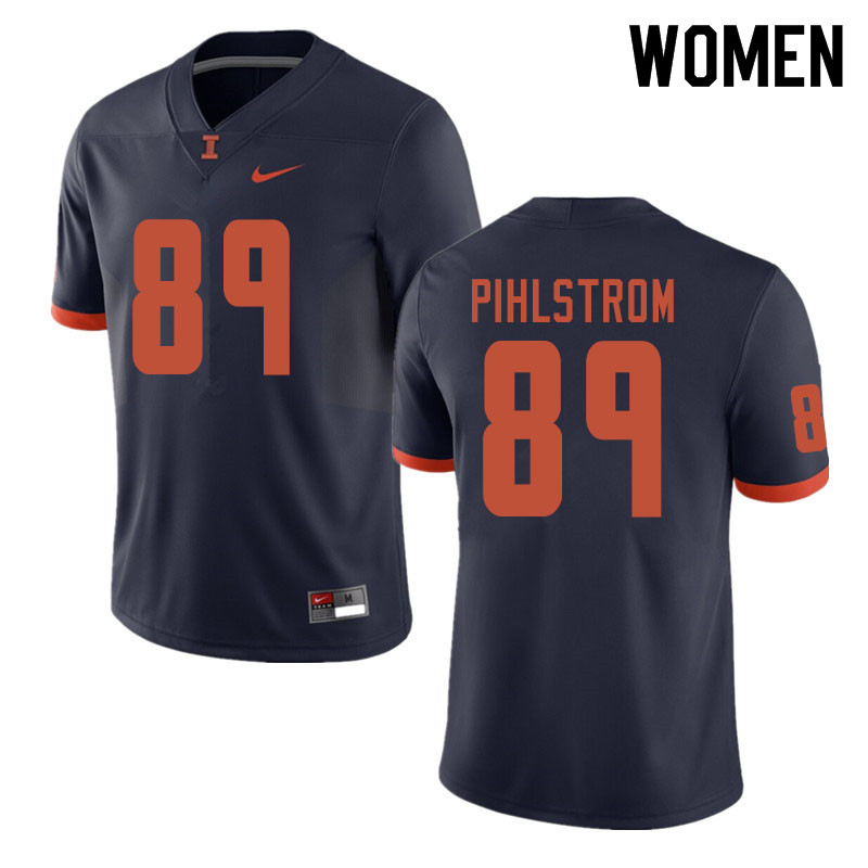 Women #89 Alex Pihlstrom Illinois Fighting Illini College Football Jerseys Sale-Navy