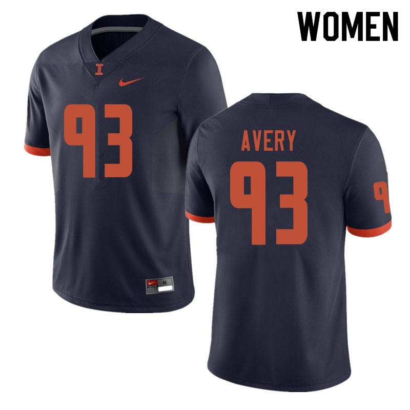 Women #93 Calvin Avery Illinois Fighting Illini College Football Jerseys Sale-Navy