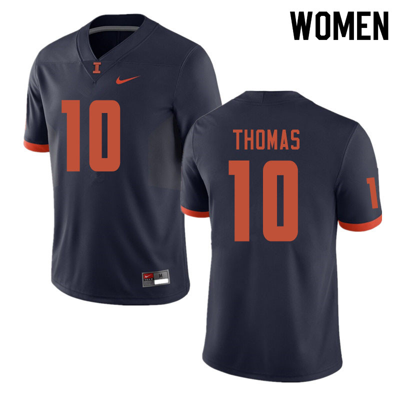 Women #10 Cam Thomas Illinois Fighting Illini College Football Jerseys Sale-Navy