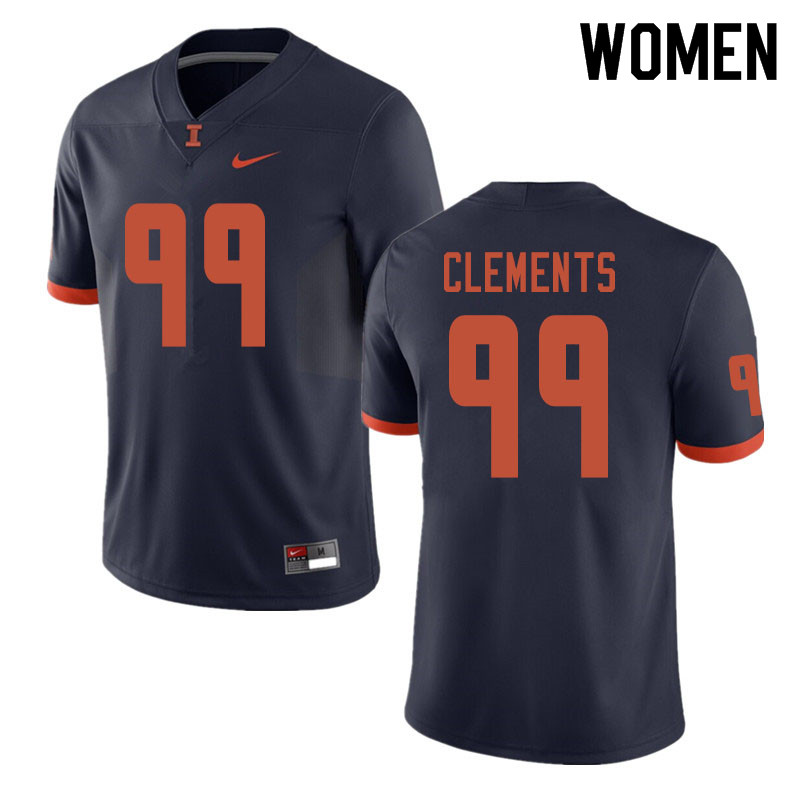 Women #99 Chunky Clements Illinois Fighting Illini College Football Jerseys Sale-Navy