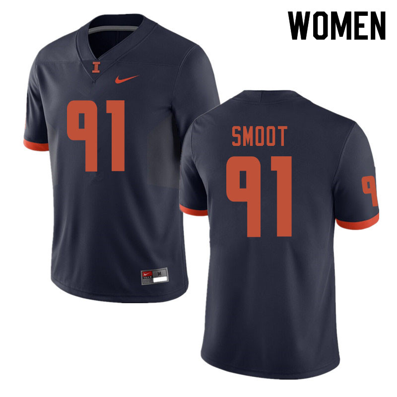 Women #91 Dawuane Smoot Illinois Fighting Illini College Football Jerseys Sale-Navy