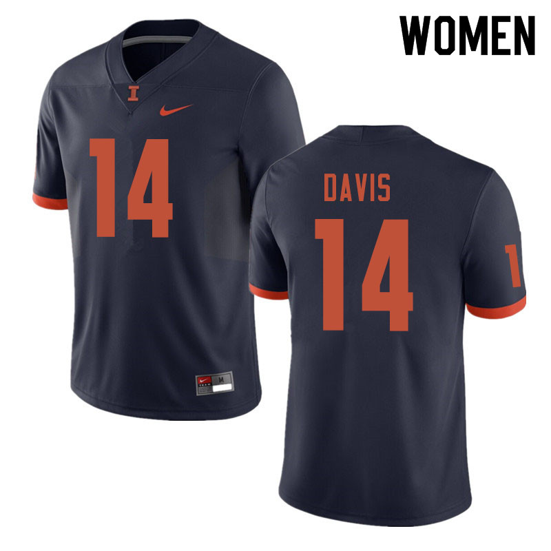 Women #14 Drake Davis Illinois Fighting Illini College Football Jerseys Sale-Navy