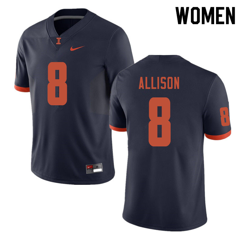 Women #8 Geronimo Allison Illinois Fighting Illini College Football Jerseys Sale-Navy