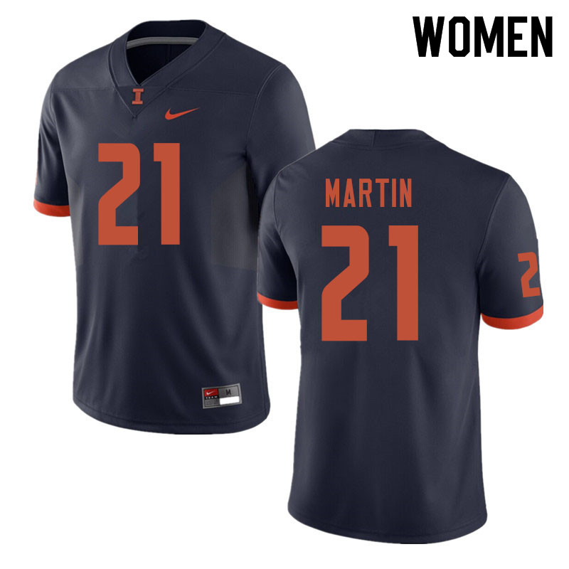 Women #21 Jartavius Martin Illinois Fighting Illini College Football Jerseys Sale-Navy