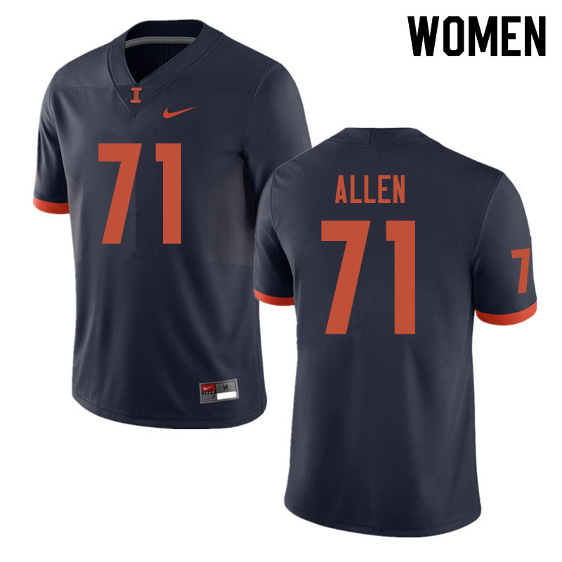 Women #71 Jeff Allen Illinois Fighting Illini College Football Jerseys Sale-Navy