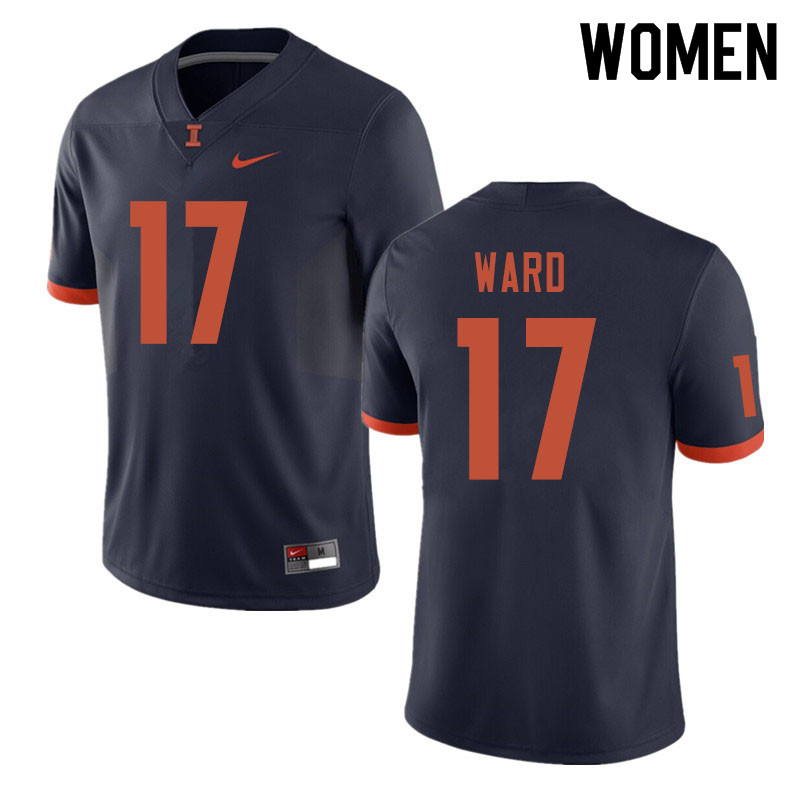 Women #17 Jihad Ward Illinois Fighting Illini College Football Jerseys Sale-Navy