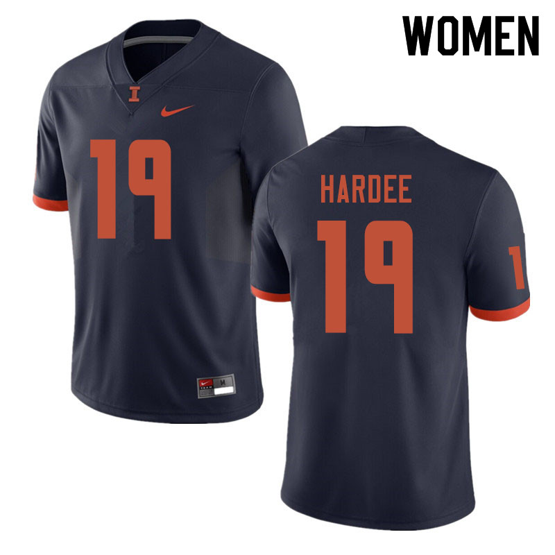Women #19 Justin Hardee Illinois Fighting Illini College Football Jerseys Sale-Navy