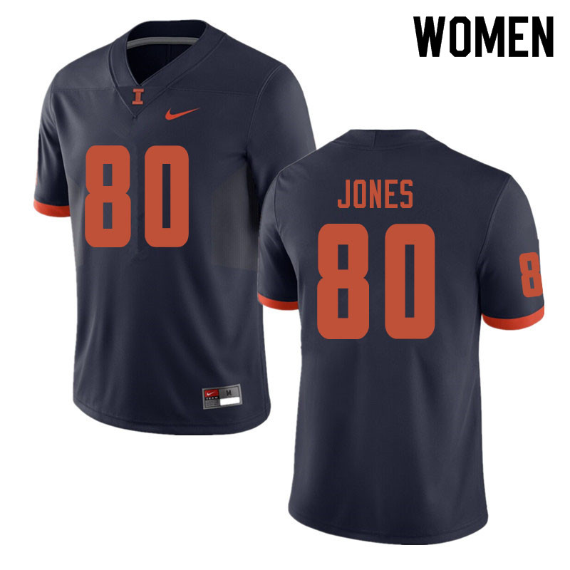 Women #80 Keith Jones Illinois Fighting Illini College Football Jerseys Sale-Navy