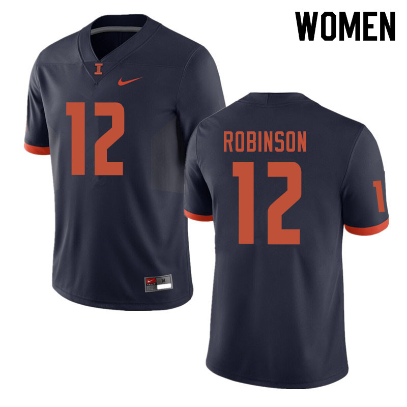 Women #12 Matt Robinson Illinois Fighting Illini College Football Jerseys Sale-Navy
