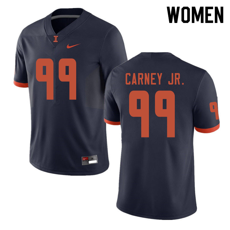 Women #99 Owen Carney Jr. Illinois Fighting Illini College Football Jerseys Sale-Navy