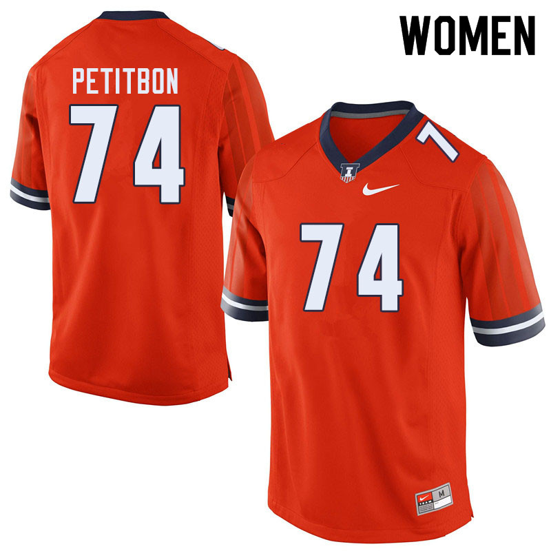Women #74 Richie Petitbon Illinois Fighting Illini College Football Jerseys Sale-Orange