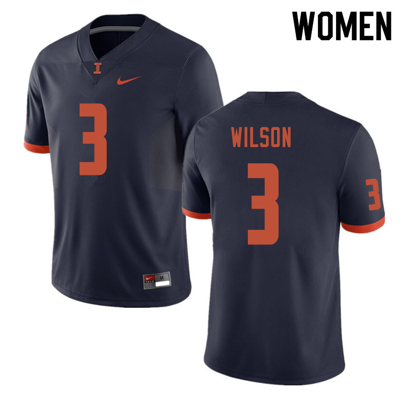 Women #3 Tavon Wilson Illinois Fighting Illini College Football Jerseys Sale-Navy