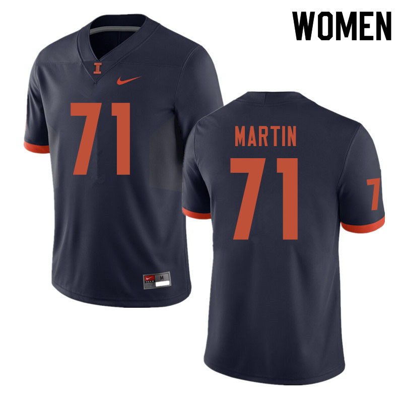 Women #71 Zeke Martin Illinois Fighting Illini College Football Jerseys Sale-Navy