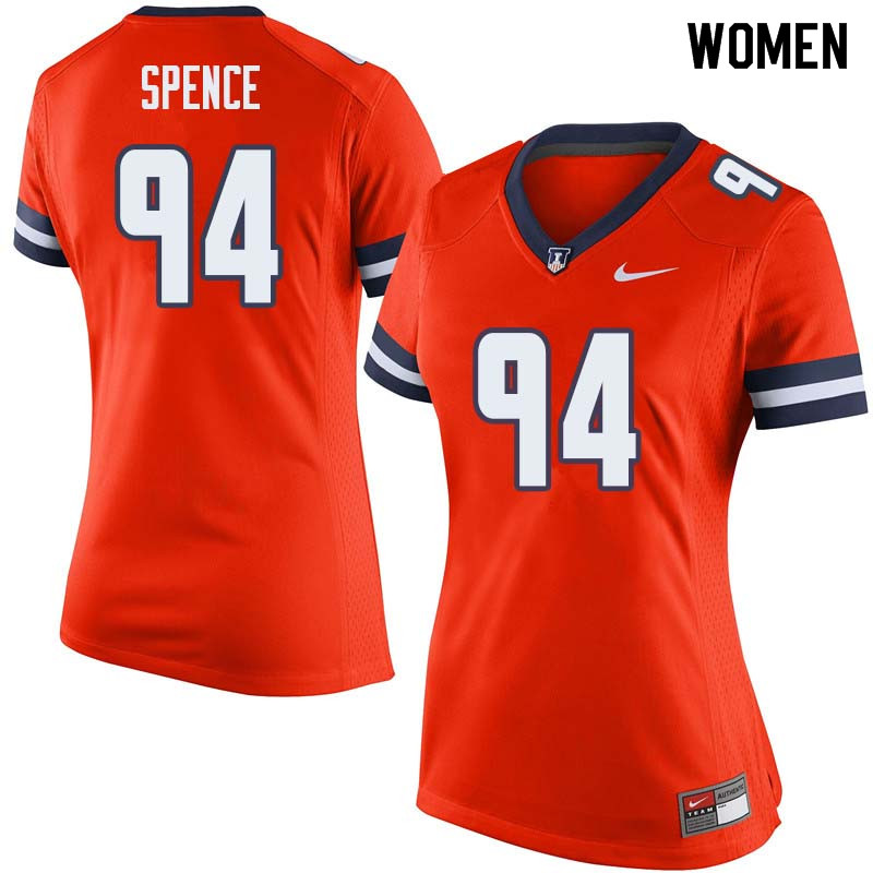 Women #94 Akeem Spence Illinois Fighting Illini College Football Jerseys Sale-Orange