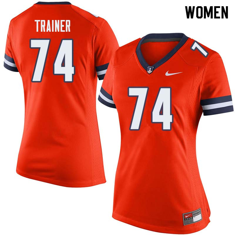 Women #74 Andrew Trainer Illinois Fighting Illini College Football Jerseys Sale-Orange