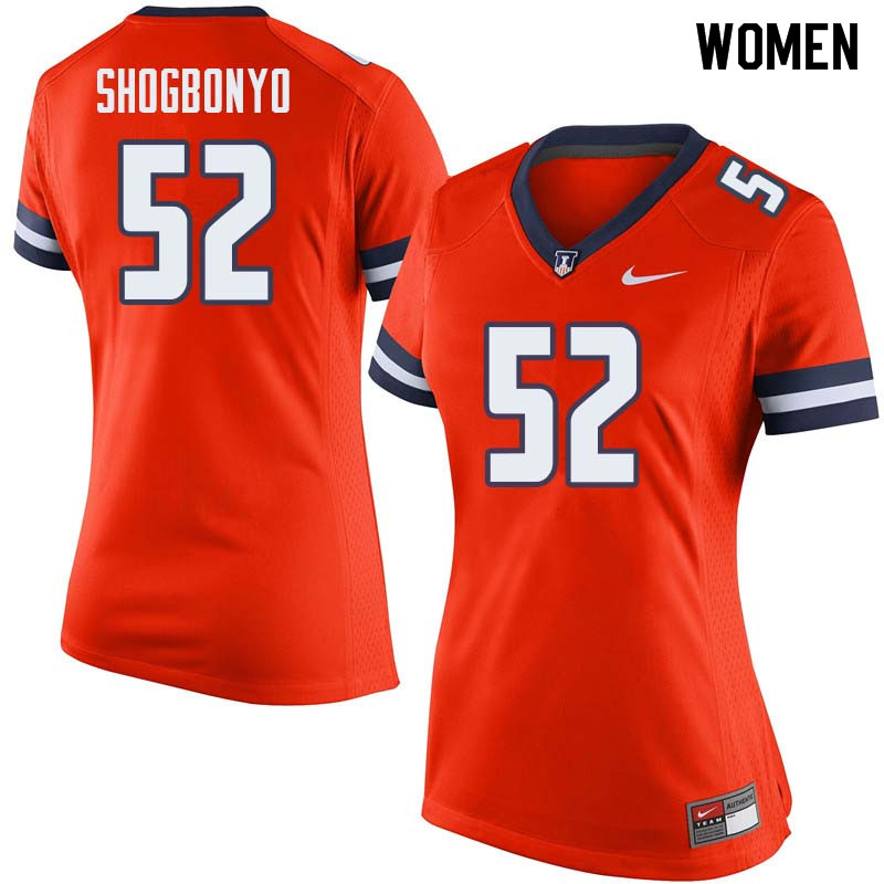 Women #52 Ayo Shogbonyo Illinois Fighting Illini College Football Jerseys Sale-Orange
