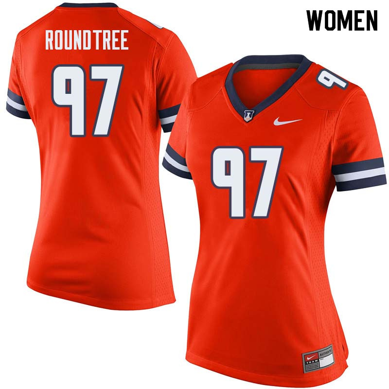 Women #97 Bobby Roundtree Illinois Fighting Illini College Football Jerseys Sale-Orange