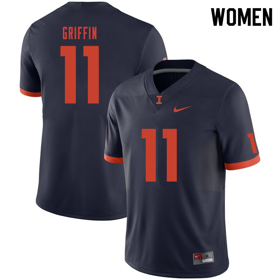 Women #11 Caleb Griffin Illinois Fighting Illini College Football Jerseys Sale-Navy