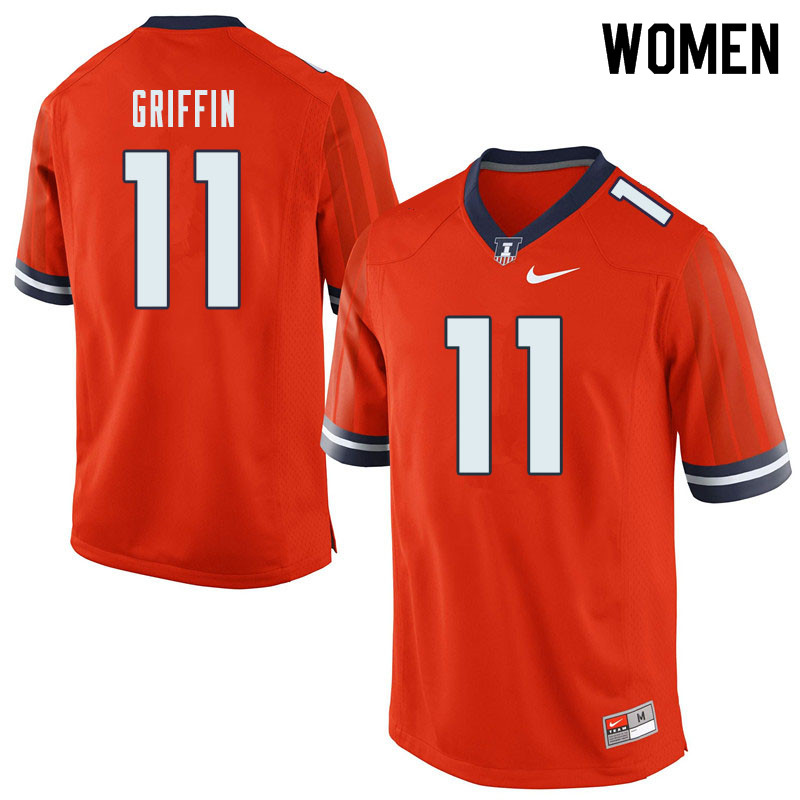 Women #11 Caleb Griffin Illinois Fighting Illini College Football Jerseys Sale-Orange